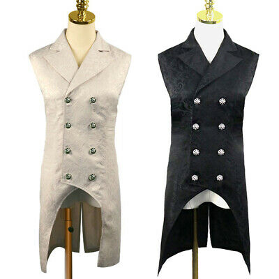 Men Lapel Vest Double-Breasted Coat Waistcoat Tailcoat Tops Party Steampunk