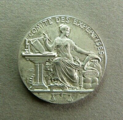 French Silver Art Nouveau Medal Woman Seated Female by Patey