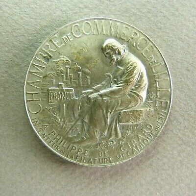 French Sterling Silver Art Nouveau Medal Lille Old Man Seated by Lefebvre
