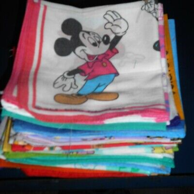 Children's Hankies Handkerchiefs X 35 Mix Of Old & New Mickey Mouse