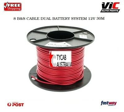 TYCAB 8 B&S CABLE DUAL BATTERY SYSTEM 12V x 30M RED COLOUR 8BS BS