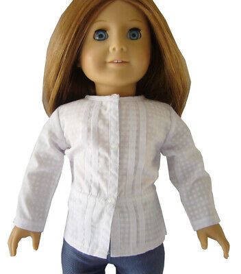 """For 18"""" American Girl White Pleated Tie Waist Blouse Doll Clothes"""