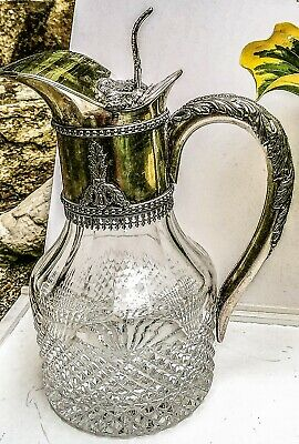 Antique Silver & Cut Crystal Glass Pitcher Decanter Hallmarked Lion Passant