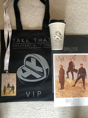 Take That Greatest Hits Tour 2019 VIP Tote Bag, Lanyard,Travel Cup, Signed Print