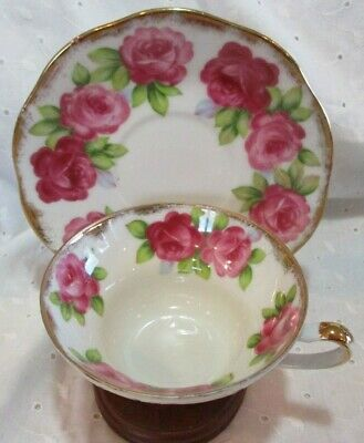 Vintage 1954 Hand Paint Pink Roses Del Mar Japan 24 K Gold Trim Tea Cup & Saucer