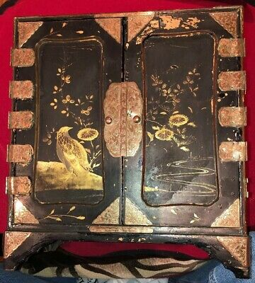 Antique Japanese Hand Painted Lacquered Cabinet / Jewellery Box
