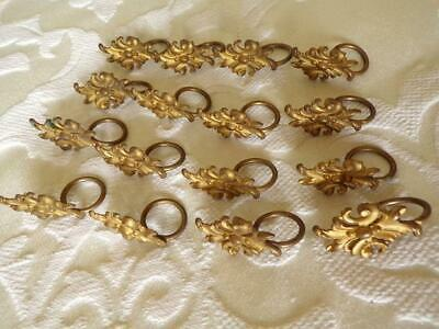 16 Stylish Antique French 'Petit' Gilt Brass Curtain Rings / Hooks Acanthus Leaf