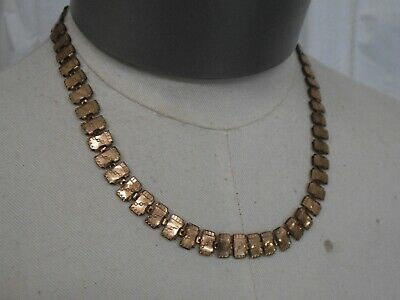 """Antique Victorian Gold Plated Book Link Chain 18 1/4"""" x 3/8"""" Necklace"""