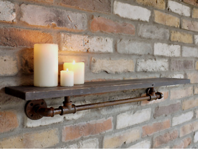 Industrial reclaimed scaffold style shelf solid wood rustic shelving vintage