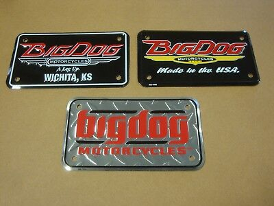 Set Of 3 Big Dog Motorcycles Small License Plate Collector Showroom Tag