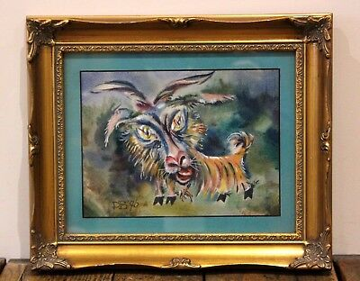 Vintage Russian Goat Watercolour and Gouache Me-eee-ee! Valery Dodon Exhibitions