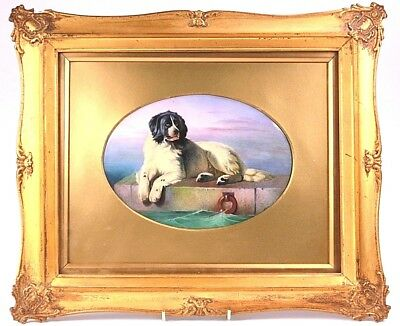 Antique Minton Porcelain Plaque Newfoundland Dog After Landseer Painting By J.e