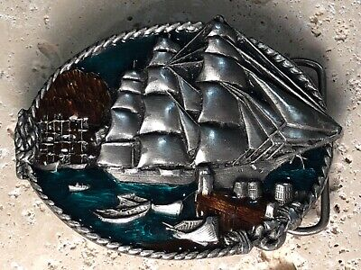 1983 BERGAMOT BRASS WORKS Pewter twisted rope enameled Clipper Ship BELT BUCKLE