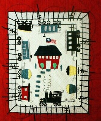 "JUDI BOISSON Baby Quilts Local Loco TRAINS 42"" x 53"" Crib RED Border NEW!"