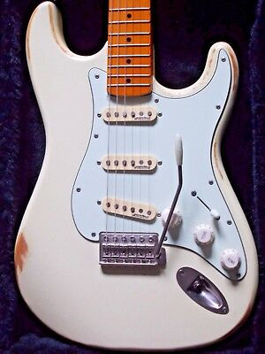 Vintage V6 Icon Electric Guitar & Maple Neck~Distressed Woodstock White *Custom*