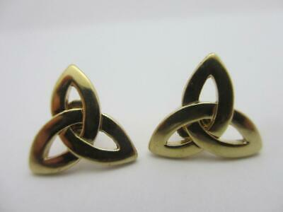 Celtic Triquetra or Trinity Knot 9k Gold Stud Earrings Vintage c1980. tbj07329