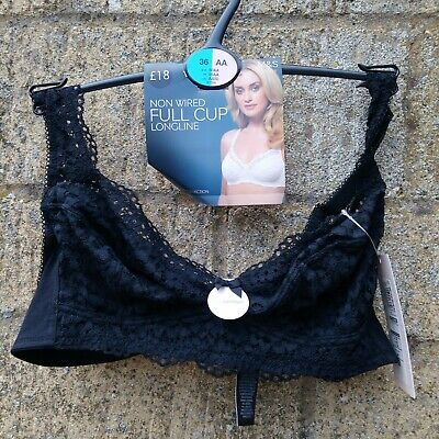 Marks Spencer NWT Non Wired Full Cup Longline Black Lace 36AA RRP £18 Lingerie