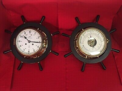 Vintage Schatz Royale Mariner Ships Bell brass clock and barometer set on base