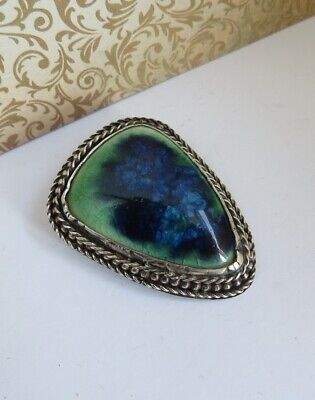ANTIQUE Sterling Silver Handmade Arts and Crafts Ruskin Style Ceramic BROOCH