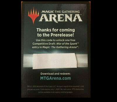 MTG Magic Arena War of the Spark prerelease Competitive Draft Code, ebay pm
