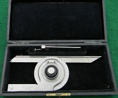 Vintage L.S. Starrett No.359 Universal Bevel Vernier Protractor With Case