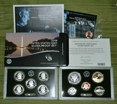Silver 2019 S US Mint 11 Coin Proof Set with West point Penny Original Box COA