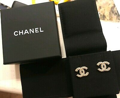 79e9c9587 CHANEL NWT CC CRYSTAL Strass HAUTE Classic Post Earrings Authentic ...