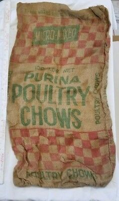 VINTAGE PURINA Poultry chows burlap FEED MICRO MIXED SACK BAG Agriculture Farm
