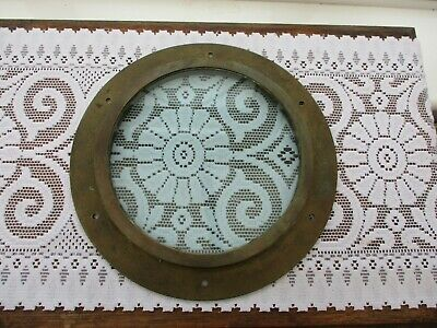 Vintage Solid Brass Ship / Boat Porthole Window 32Cm Outer Diameter, Thick Glass