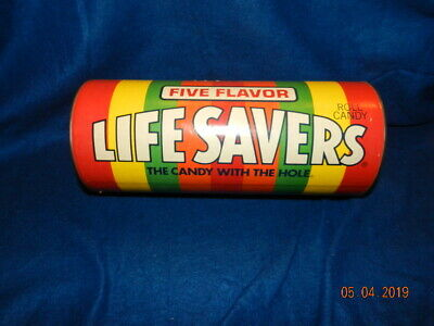 Vintage Life Savers Candy Advertising Coin Bank With Metal Lid Very Nice!