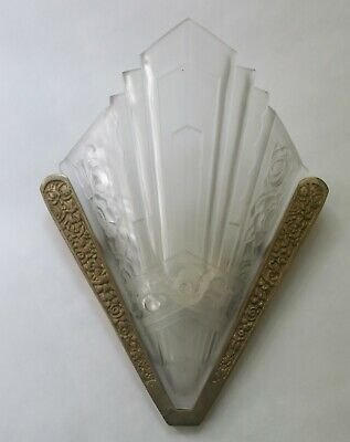 Gorgeous vintage french Art Deco wall sconces - set of 4 - glass covers (SEVB)