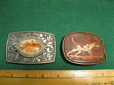 Vintage Old  Brass Belt Buckle w/ hunting dog & 1 white metal w/picture agate
