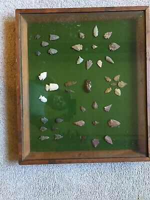 Large Lot of 41 Framed Native American Arrowheads Points 1950's Or 1960's