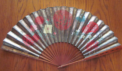Antique Japanese hand painted fan silvered paper butterflies & flowers