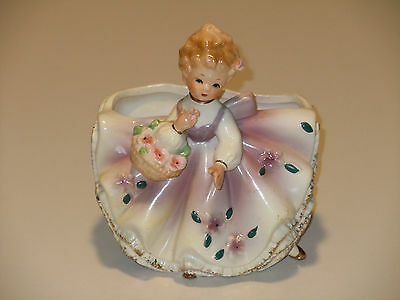 Beautiful Vintage Inarco Japan Southern Belle? With Basket Planter Very Nice