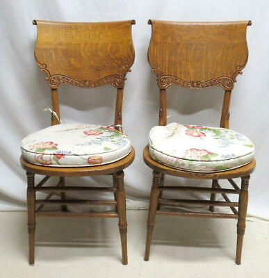 Antique Pair 2 Victorian Golden Oak Bentwood Carved Pressed Back Kitchen Chairs