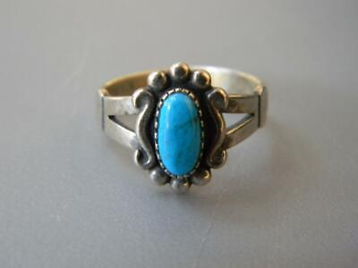Vintage Wheeling Mfg. 925 Sterling Silver & Turquoise Child's Ring Sz 4~~Rare~~