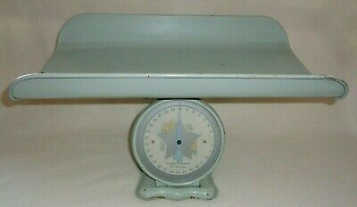 Vintage Antique Mechanical Metal 30 lbs  Nursery Baby Scale with Tray ~WORKS