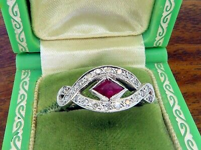 Vintage palladium ANTIQUE ART DECO 1920's FILIGREE RUBY DIAMOND ESTATE ring RARE