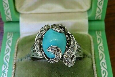 Vintage palladium ANTIQUE ART DECO 1920s SLEEPING BEAUTY TURQUOISE DIAMOND ring