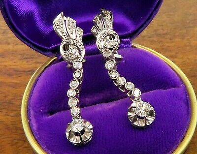 Vintage palladium ANTIQUE ART DECO 1920's TENNIS FILIGREE DROP DIAMOND earrings