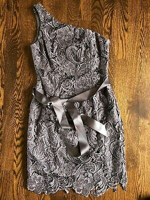 Adrianna Papell Evening  dress size 4 cocktail sheath one shoulder gray STUNNING