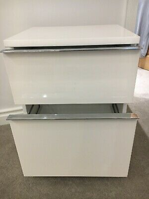 Filing cabinet 2 drawer, on coasters, white lacquer finish good cond.