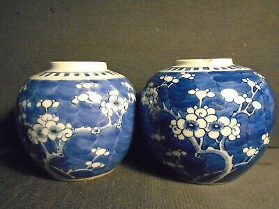 Two antique Chinese porcelain b&w Ginger Jars, late 19th.century, one only  AF.