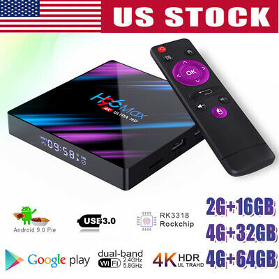New H96 Android 9.0 Smart TV Box 64G Quad Core 4K HD 5.8GHz WiFi Media Player US