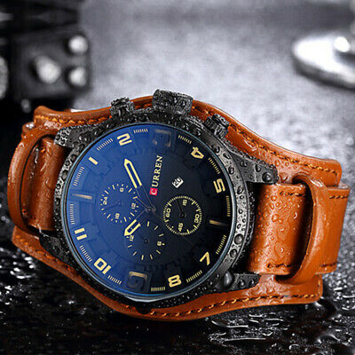 CURREN Mens Army Military Quartz Watch Leather Strap Watch Boys Sports Watches