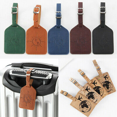 Leather Luggage Tag Travel Suitcase Bag ID Tag Address Label Baggage Card Holder