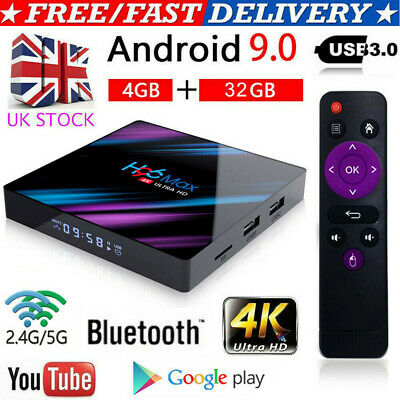 New H96 MAX 4GB+32GB Android 9.0 Quad Core TV Box 4K HD Media Player WIFI UK