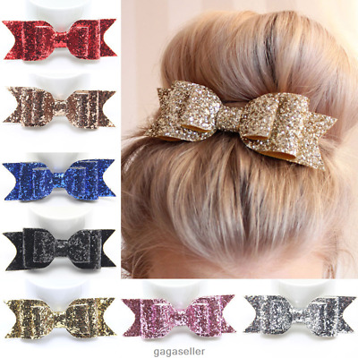 Women Girls Glitter Hairpin Bowknot Barrette Crystal Sequin Hair Clip Bow Gifts
