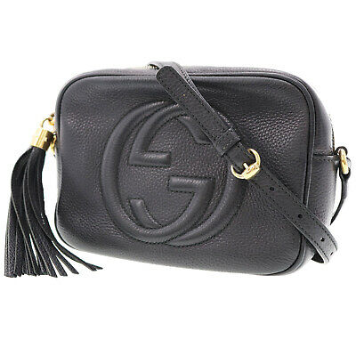 a67917f3e GUCCI Soho Disco Shoulder Bag Black Leather Cross body Vintage Italy Auth  #Y733